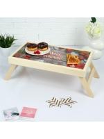 Столик складной деревянный для завтрака Моей любимой с сердечками 50 х 30 см