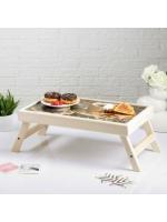 Столик складной деревянный для завтрака Доброе утро кофе 50 х 30 см