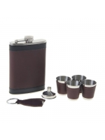 Подарочный набор 7 в 1 фляжка Горький шоколад 270 мл 4 рюмки воронка брелок-фонарик 5х23х17 см