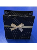 Пакет подарочный ламинированный черный с бантиком 15 х 15 см